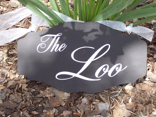 The Loo Wood Vinyl Sign Bathroom Door Hanger Restroom Powder Room