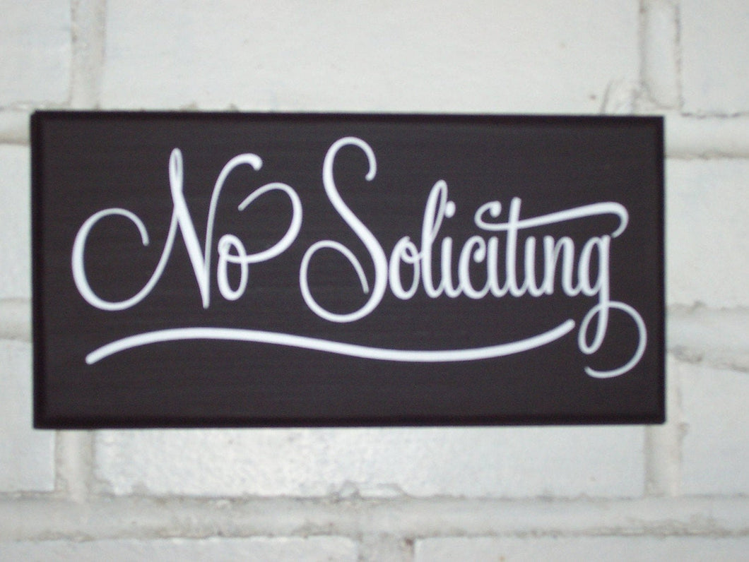 No Soliciting Wood Vinyl Sign Front Door Business Sign Office Decor Exterior Entryway Sign Year Round Door Hanger Porch Wall Art Yard Decor - Heartfelt Giver