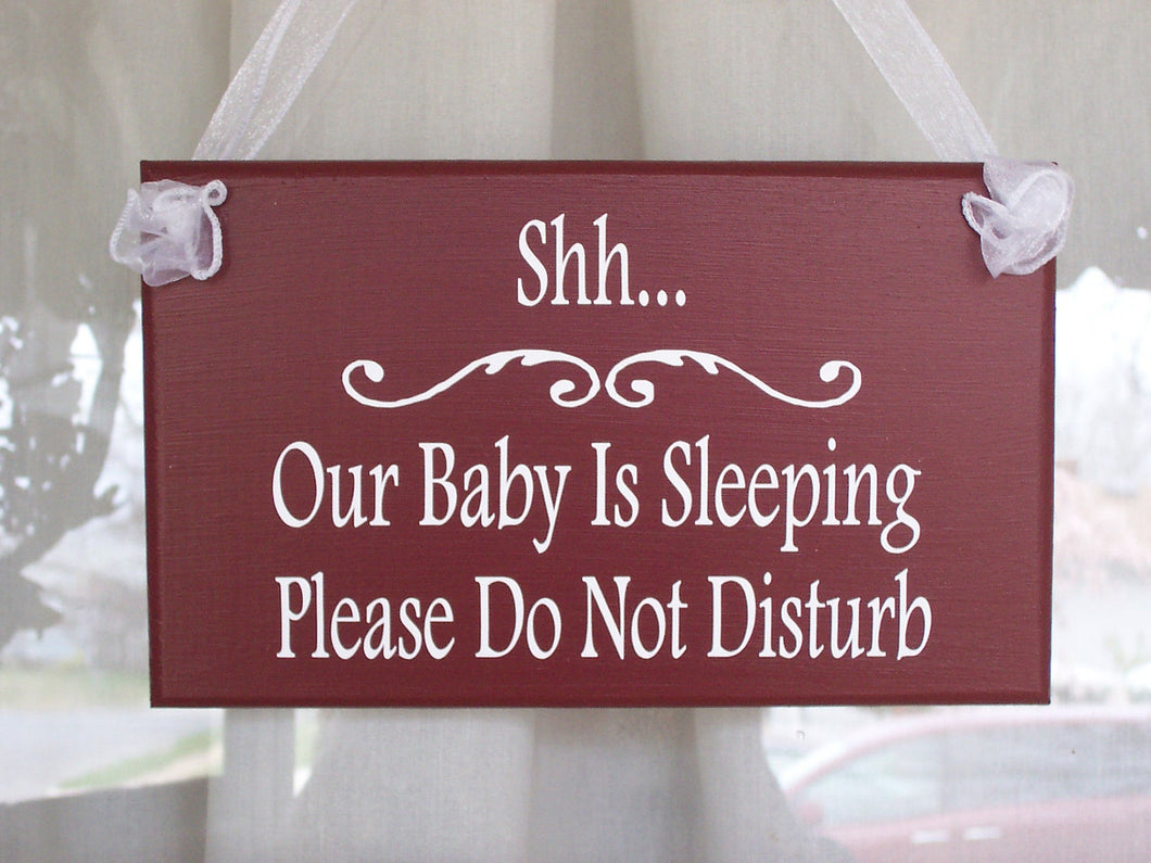 Shh Baby Sleeping Sign Do Not Disturb Wood Vinyl Signs Rustic Red Baby Shower Gift Mom To Be New Baby Gift Kids Room Sign Door Sign Decor