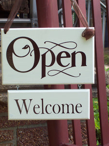 Open Welcome Closed Please Come Again Wood Vinyl 2 Tier Sign Office Supplies Business Signs Door Hanger Office Signs Office Decor Wall Hang