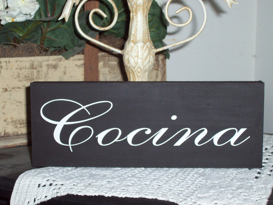 Cocina Spanish Kitchen Decor Wood Vinyl Sign Wall Shelf Sitter Home Decor Kitchen Signs Block Sign Wall Hanging Home Gift Basket Supplies