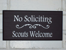 Load image into Gallery viewer, No Soliciting Scouts Welcome Wood Vinyl Sign Do Not Disturb Unless Child Boy Girl Thin Mint Cookies Door Wall Hanger Unique Gift Home Decor