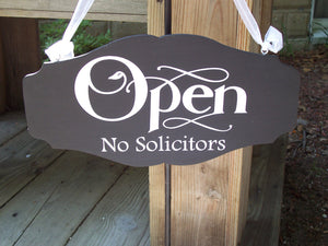 Open Closed No Solicitors Store Wood Vinyl Sign Custom Personalize Home Office Sign Massage Therapy Hair Salon Beauty Door Hanger Business