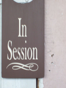 In Session Door Knob Hanger Wood Vinyl Sign Business Office Supplies Brown Health Fitness Wellness Beauty Salon Massage Therapy Hair Nails