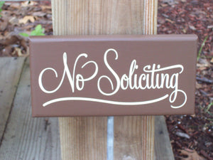 No Soliciting Sign Wood Vinyl Stake Sign Everyday Outdoor Front Yard Decor Signage For Homes Or Businesses In Country Brown Home Decor Art