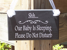Load image into Gallery viewer, Baby Sleeping Please Do Not Disturb Wood Signs  Vinyl Sign Handmade New Mom Gift Baby Shower or Mothers Day Gift