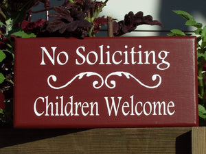 No Soliciting Children Welcome Sign Wood Vinyl Sign Front Door Decor Porch Wall Hanging Garden Gate Yard Home Sign Decor Door Adornment Red - Heartfelt Giver