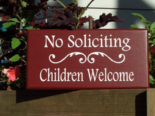 Load image into Gallery viewer, No Soliciting Children Welcome Sign Wood Vinyl Sign Front Door Decor Porch Wall Hanging Garden Gate Yard Home Sign Decor Door Adornment Red - Heartfelt Giver