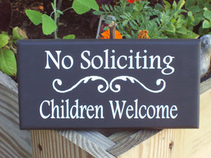 No Soliciting Sign Children Welcome Sign Wood Vinyl Sign Door Decor Porch Decor Home Decor Signs Door Signs Outdoor Signs For Home Yard Sign