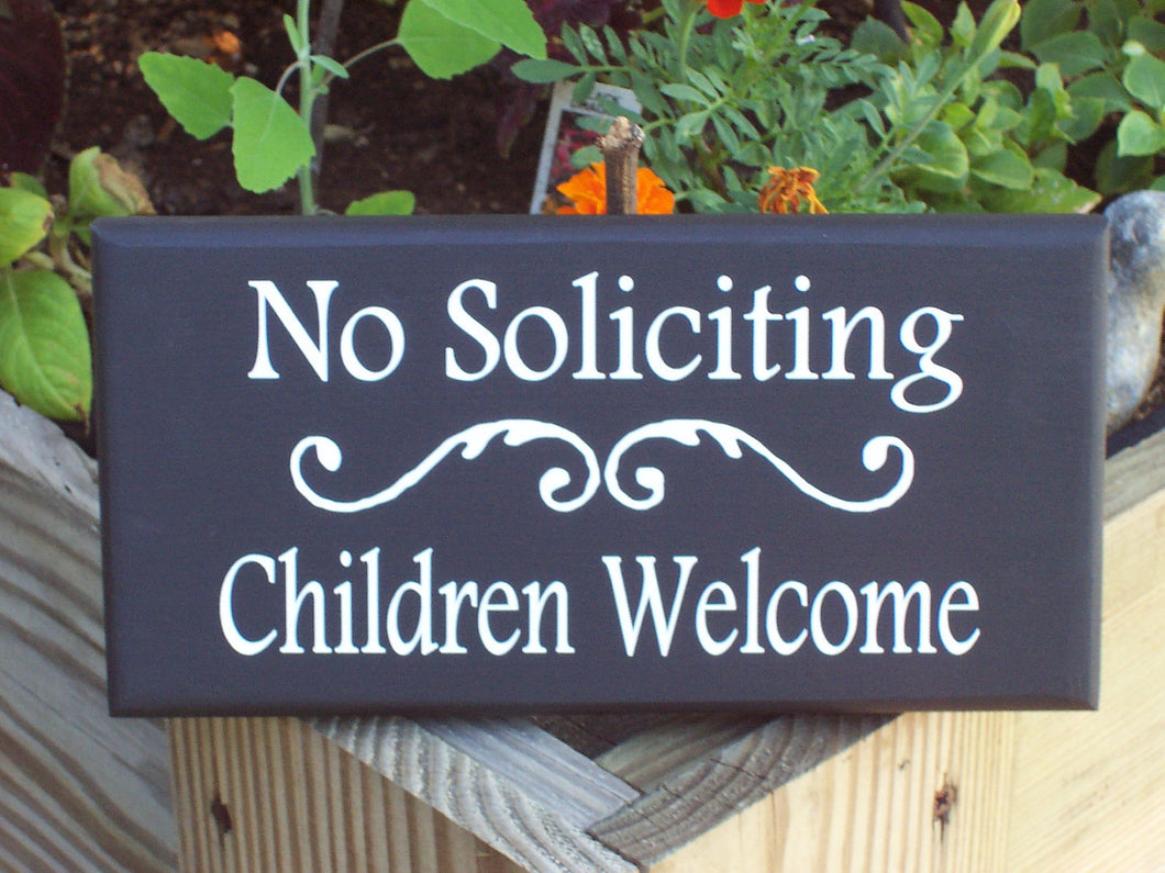No Soliciting Sign Children Welcome Sign Wood Vinyl Sign Door Decor Porch Decor Home Decor Signs Door Signs Outdoor Signs For Home Yard Sign - Heartfelt Giver