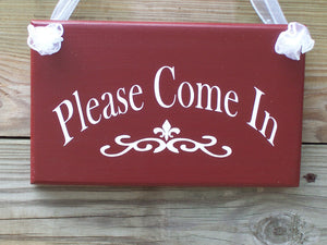 Primitive Country Rustic Red  Wood Sign Vinyl Please Come In Open Welcome Plaque Invite Home Business Office Retail Shop Door Hanger Decor
