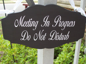 Meeting In Progress Do Not Disturb Office Decor Business Wood Vinyl Signage Indoor Decorative Signs Door Hanging Sign Office Themed Gifts