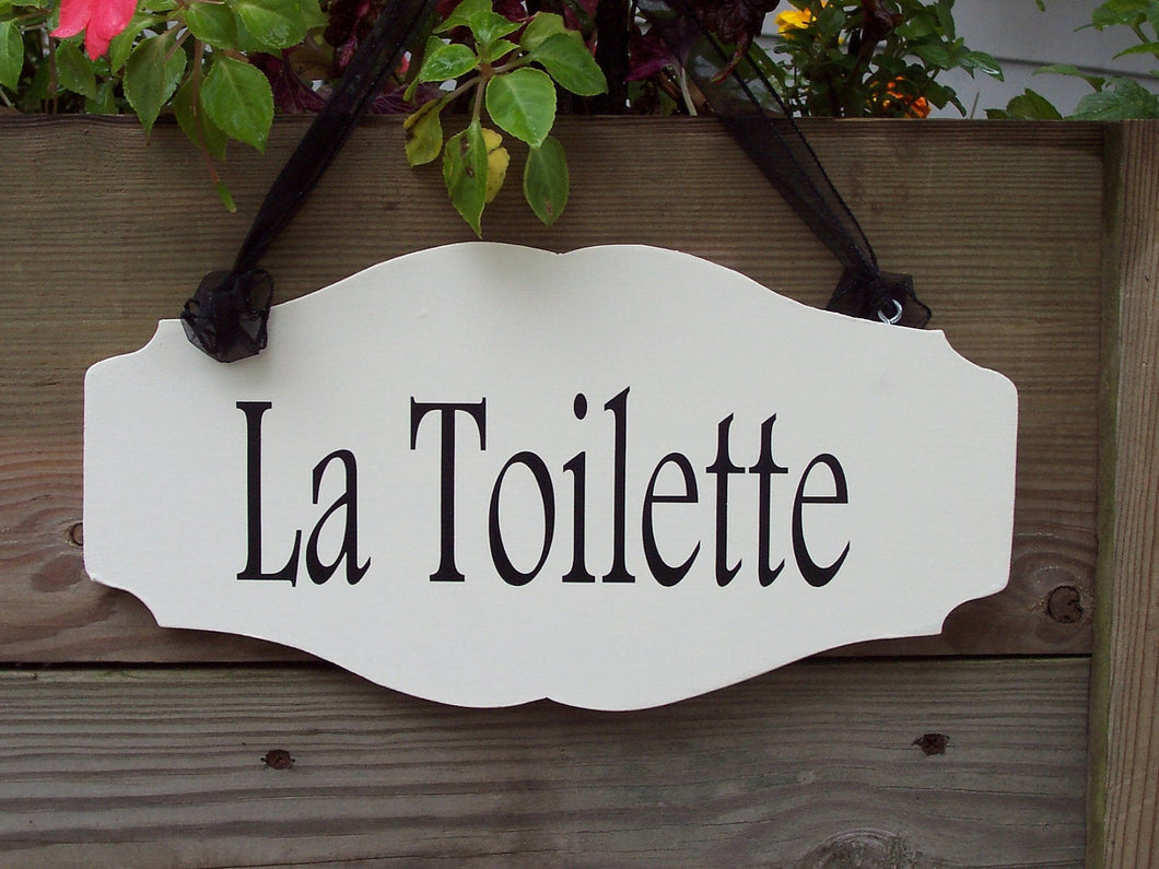 La Toilette Wood Vinyl Sign French Cottage Style Bathroom Sign Decor