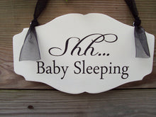 Load image into Gallery viewer, Shh Baby Sleeping Wood Vinyl Sign Nursery Door Sign New Mom New Baby Shower Gift Bedroom Sign Nursery Decor Baby Gift