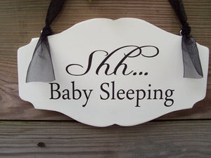 Shh Baby Sleeping Wood Vinyl Sign Nursery Door Sign New Mom New Baby Shower Gift Bedroom Sign Nursery Decor Baby Gift
