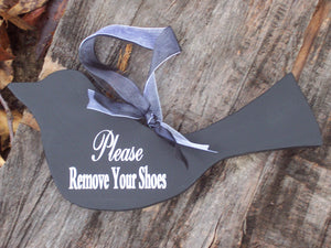 Please Remove Shoes Wood Vinyl Sign Black Bird Wooden Entry Sign Door Hanger Simple Primitive Sign Porch Sign Take Off Shoes Wood Cutout