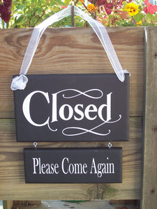 Open Welcome Closed Please Come Again Wood Vinyl Two Tier Sign Reversible Two Sided Sign For Any Office Or Business Entry Front Door Decor - Heartfelt Giver