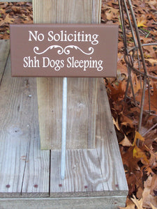 No Soliciting Shh Dogs Sleeping Wood Vinyl Stake Sign Pet Supply Outdoor Lawn Ornament Yard Garden Sign Landscape Home Decor Country Chic