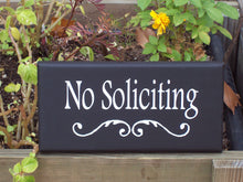 Load image into Gallery viewer, No Soliciting Sign Decorative Wood Signs Vinyl Sign Yard Sign Do Not Disturb Outdoor Sign Wall Sign Wall Decor Porch Decor Front Door Decor