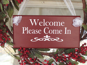 Welcome Sign Please Come In Wood Vinyl Door Signs For Office Supplies New Business Signage Door Hanger Grand Opening Gift Custom Plaque - Heartfelt Giver