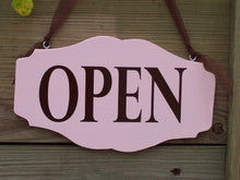 Load image into Gallery viewer, Open Closed Sign Retro Pink Wood Vinyl Sign Business Office Supply Retail Shop Salon Beauty Supplies Scallop Custom Personal Sign Design - Heartfelt Giver