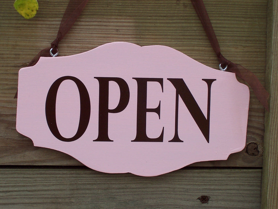 Open Closed Sign Retro Pink Wood Vinyl Sign Business Office Supply Retail Shop Salon Beauty Supplies Scallop Custom Personal Sign Design - Heartfelt Giver