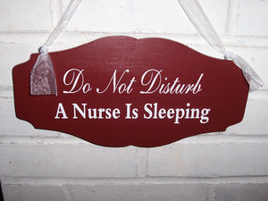 Do Not Disturb A Nurse Is Sleeping Wood Vinyl Sign Primitive Country Red Scalloped Design Style Door Wall Hang Quiet Please Night Worker