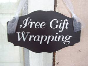 Free Gift Wrapping Shop Wood Vinyl Sign Stores Holiday Business Sign Retailers Retail Signage Store Display Sign All Seasons Sign Wall Art - Heartfelt Giver
