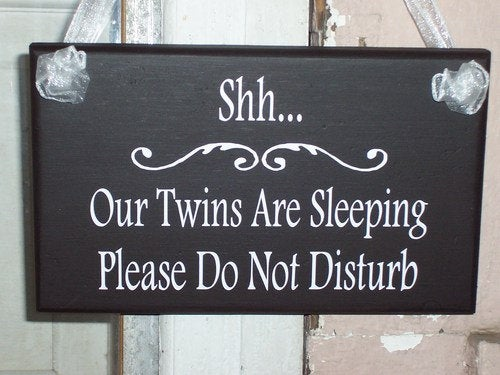 Whimsical Cottage Chic Home Decor Shh Twins Sleeping Please Do Not Disturb Wood Vinyl Sign Quiet Children Kid Baby Infant Mom Sleeping