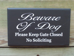 Beware Of Dog Please Keep Gate Closed No Soliciting Wood Vinyl Sign Home Decor Outdoor Decor Gate Sign Pet Lover Sign Dog Supplies Garden