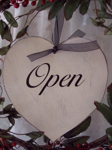 Open Closed Heart Wood Vinyl Sign Distressed Farmhouse Rustic Door Decor Office Sign Business Sign Office Decor Business Decor Rustic Decor