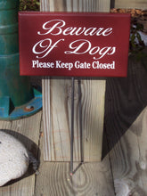 Load image into Gallery viewer, Beware of Dogs Please Keep Gate Closed Wood Vinyl Yard Stake Sign Home Decor Outdoor Sign Yard Sign Porch Sign Farmhouse Country Red Signs