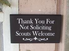 Load image into Gallery viewer, Thank You For Not Soliciting Scouts Welcome Wood Sign Vinyl No Soliciting Door Hanger Wall Hanging Porch Sign Outdoor Garden Yard Sign Decor