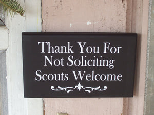 Thank You For Not Soliciting Scouts Welcome Wood Sign Vinyl No Soliciting Door Hanger Wall Hanging Porch Sign Outdoor Garden Yard Sign Decor