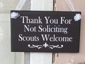 Thank You For Not Soliciting Scouts Welcome Sign Wood Vinyl Sign Girl Scouts Custom Sign Outdoor Sign Porch Sign Thank You Sign Door Sign
