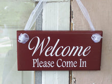 Load image into Gallery viewer, Welcome Please Come In Wood Vinyl Sign Business Office Supplies Welcome Sign Farmhouse Red Door Hanger Shop Spa Hair Salon Store Retail Sign - Heartfelt Giver