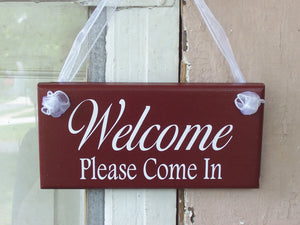 Welcome Please Come In Wood Vinyl Sign Business Office Supplies Welcome Sign Farmhouse Red Door Hanger Shop Spa Hair Salon Store Retail Sign