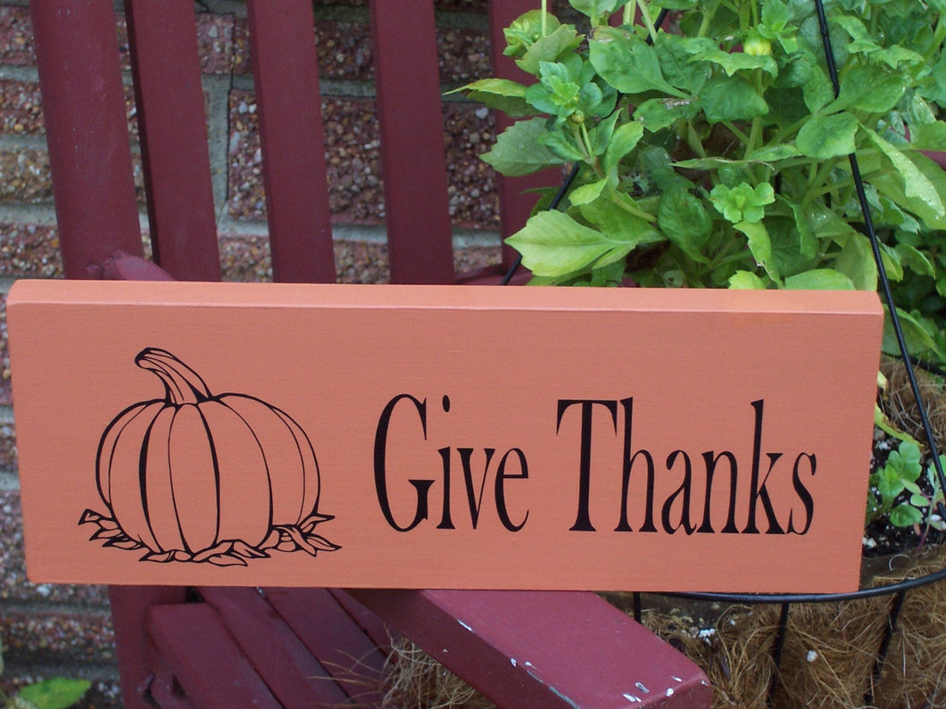 Give Thanks Pumpkin Wood Vinyl Sign Thanksgiving Holiday Decor Wall Decor - Heartfelt Giver