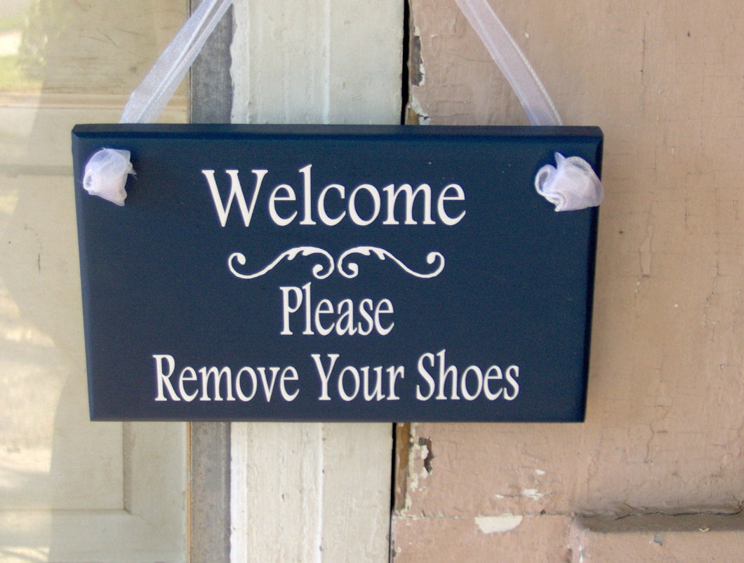 Welcome Please Remove Your Shoes Wood Vinyl Sign Nautical Navy Blue Home Decor Porch Entry Door Hanger Household Plaque Unique Gifts Friends - Heartfelt Giver