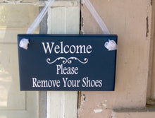 Load image into Gallery viewer, Welcome Please Remove Your Shoes Wood Vinyl Sign Nautical Navy Blue Home Decor Porch Entry Door Hanger Household Plaque Unique Gifts Friends