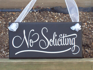 No Soliciting Wood Vinyl Sign Retro Modern Home Decor Sign Porch Signs Door Hanger Gate Fence Outdoor Garden Decor Handmade Personalized