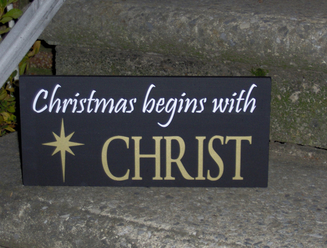 Christmas Begins With Christ Wood Vinyl Sign Holiday Wall Decor Wall Hanging Seasons Greetings Religious Gifts Door Ornament Porch Signs Art