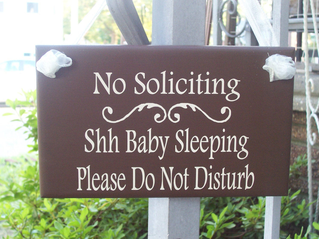 No Soliciting Shhh Baby Sleeping Please Do Not Disturb Wood Vinyl Sign New Baby Gift Front Door Sign Quiet Please Zone Mom Gift Dad Gift