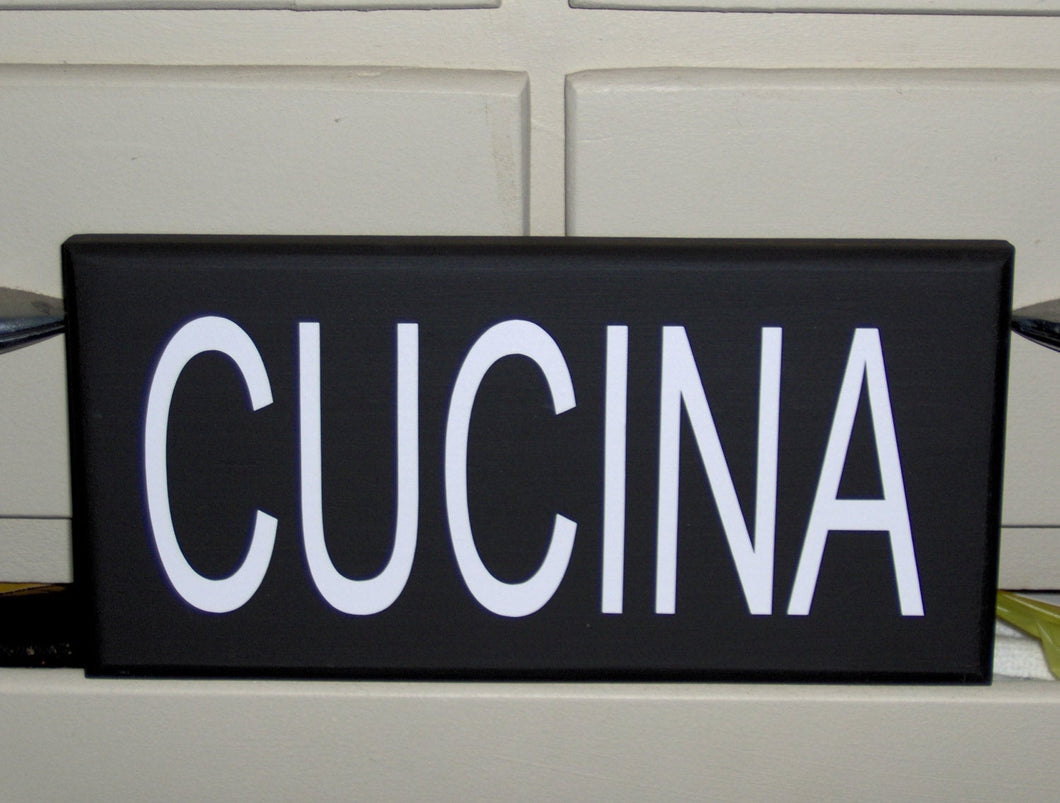 Cucina Italian Kitchen Wood Vinyl Sign Wall Tuscan Style Family Word Wood Block Shelf Sitter Home Accent Decor Table Shop Handmade Craft - Heartfelt Giver