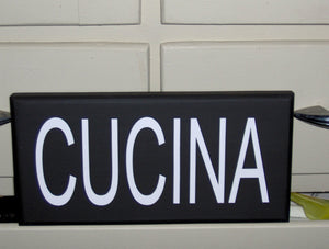 Cucina Italian Kitchen Wood Vinyl Sign Wall Tuscan Style Family Word Wood Block Shelf Sitter Home Accent Decor Table Shop Handmade Craft