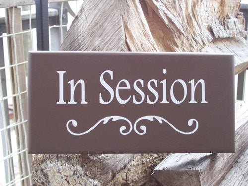 In Session Wood Vinyl Business Sign Office Supply Sign Do Not Disturb Therapy Treatment Massage Beauty Salon Door Sign Wall Hanging Brown