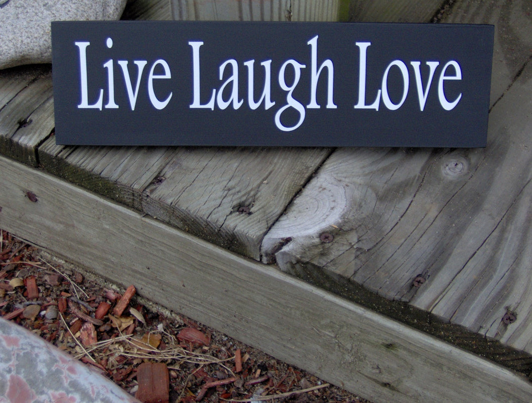 Live Laugh Love Wood Block Sign Vinyl Shelf Sitter Wall Hanging Handmade Sign Great Gift Any Occasion Friends Family Gathering Porch Sign