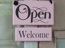 Load image into Gallery viewer, Open Welcome Closed Please Come Again Wood Vinyl 2 Tier Sign Office Supply Shabby Chic Pink Business Sign Door Hanger Office Decor Shop Sign - Heartfelt Giver