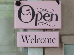 Open Welcome Closed Please Come Again Wood Vinyl 2 Tier Sign Office Supply Shabby Chic Pink Business Sign Door Hanger Office Decor Shop Sign