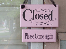 Load image into Gallery viewer, Open Welcome Closed Please Come Again Wood Vinyl 2 Tier Sign Office Supply Shabby Chic Pink Business Sign Door Hanger Office Decor Shop Sign